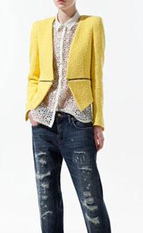 Veste tweed jaune zara